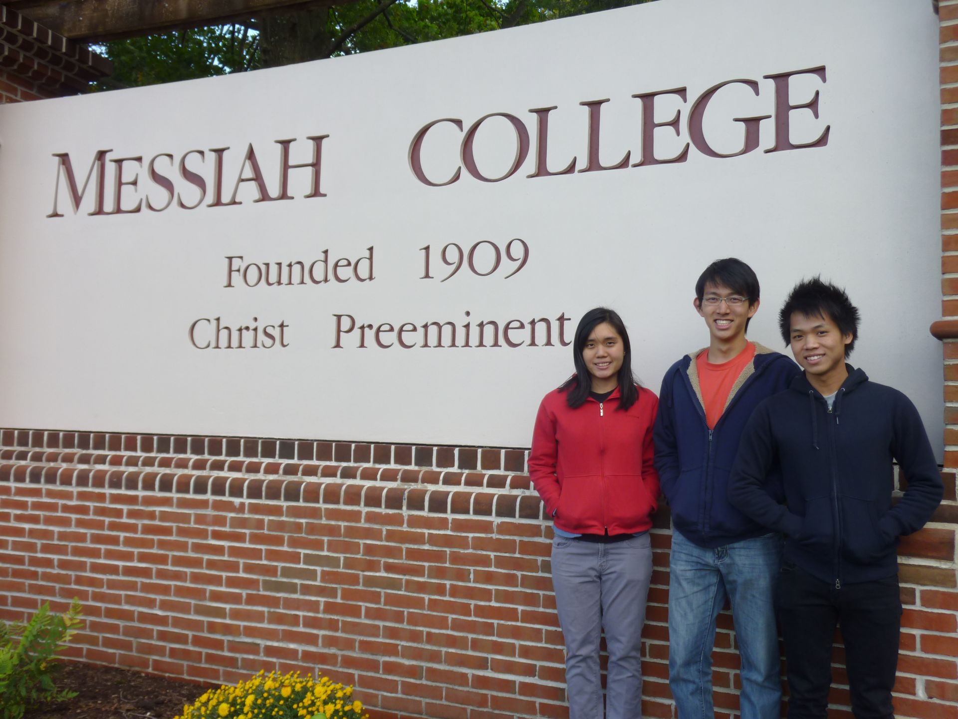 Phoebe Chua (left), Bryan Leong (middle), and Joel Ngui (right) enjoy their welcome to Messiah (and the cold!)