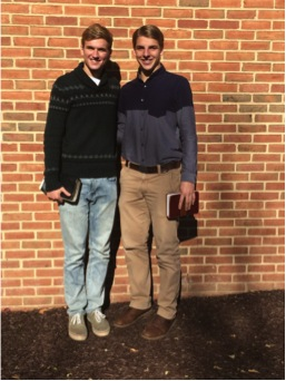 Sophomore Justin Eby (L) keeps things comfortable and classy in his church attire while First-year Kurtis Eby (R) takes a more classic approach.