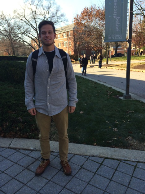 Danny Brandt goes casual with a cotton button down, khakis, and leather shoes.
