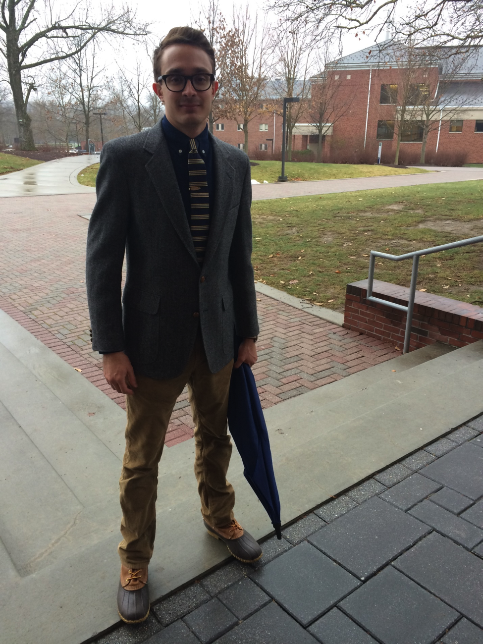 Junior Brett Levengood includes a blazer in his overall look, finding that dressing better adds confidence to his day