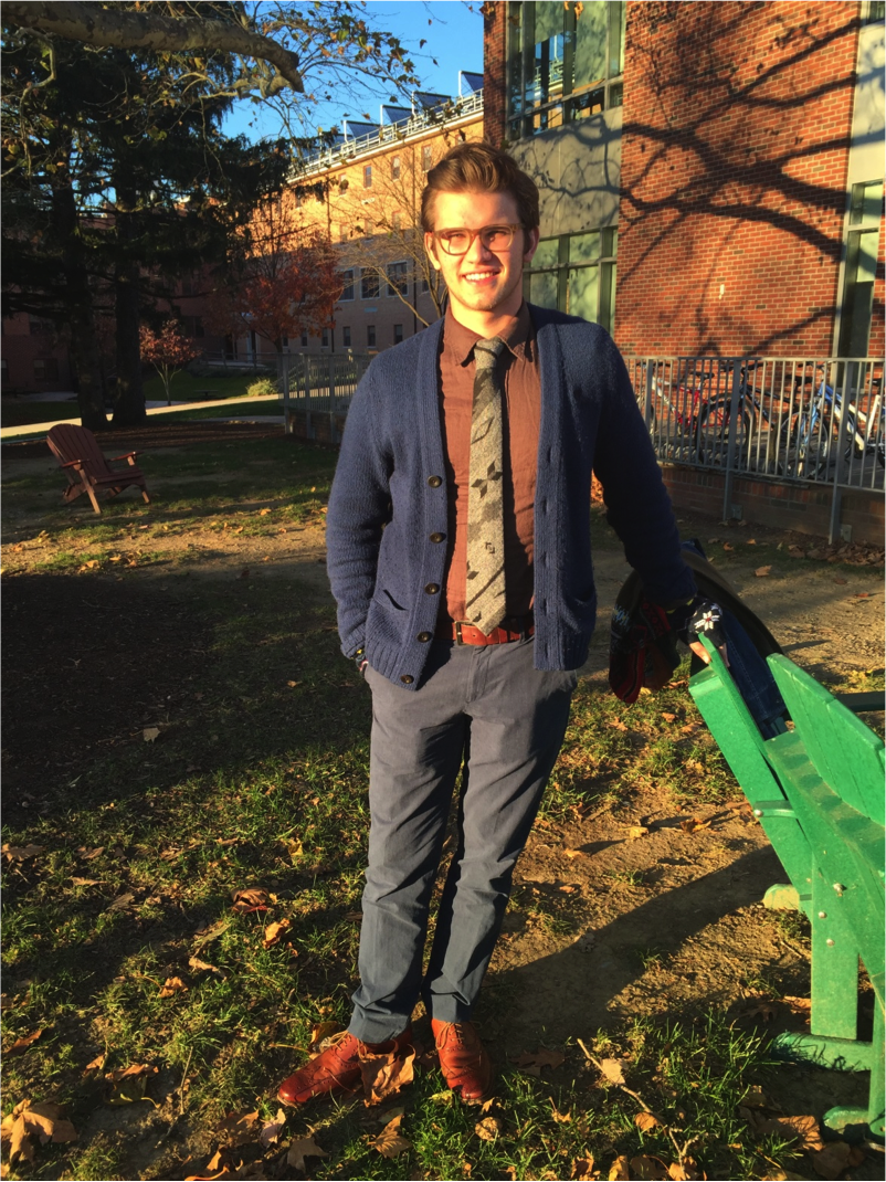 Sophomore Tobias Nordlund shows a formal look that he has discovered suits his personal taste.