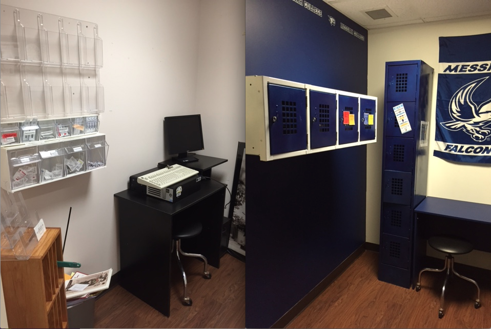 A before (L) and after (R) of the Engle Center's self-care station, which underwent a recent renovation. The new room also includes an iPad for students to access a symptom check through WebMD.
